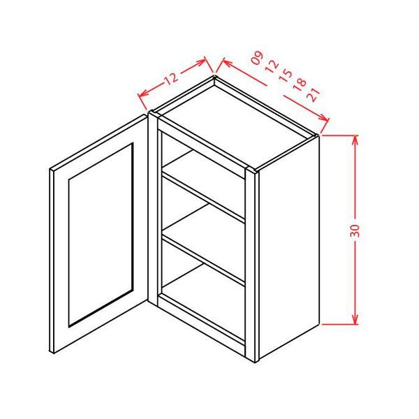 "Shaker Cinder 30""High Wall Cabinets Single Door 9""W X 30""H"