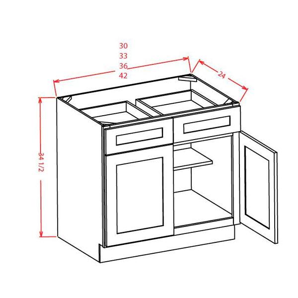 "Shaker Cinder Double Door Double Drawer Base Cabinet 33""W"