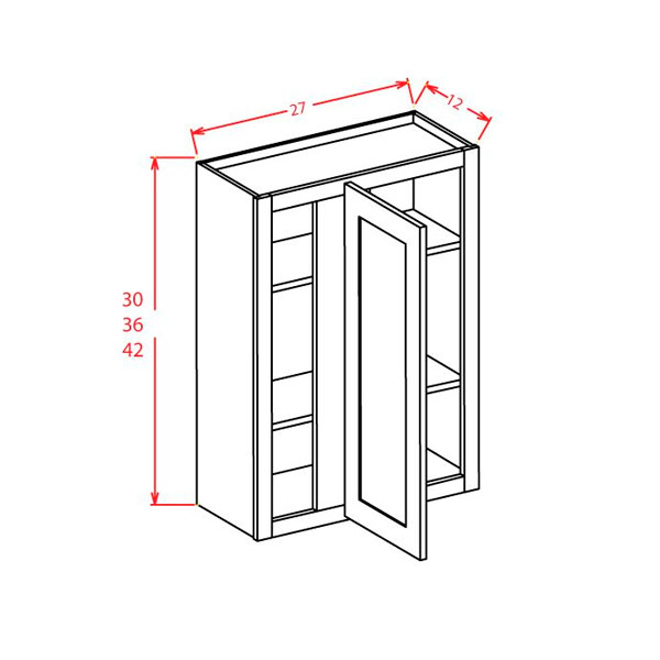 """Shaker Cinder Wall Blind Cabinets 27""""W X 42""""H X 12""""D"""